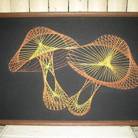 Vintage 70s mushroom string art picture / wall decor hanging / retro 1970s folk art craft / groovy hippie / handmade