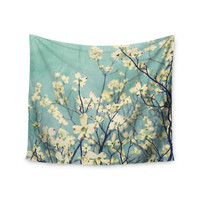 """Ann Barnes """"Pure"""" Teal Floral Wall Tapestry"""