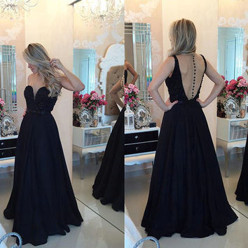 Sexy A Line Deep V Black Open Back Prom Gowns Evening Dresses pst0170