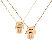"""Sister Gift Set - Hamsa Hand Necklaces Engraved with """"Lil Sis"""" and """"Big Sis"""", 18"""" Chains Included"""