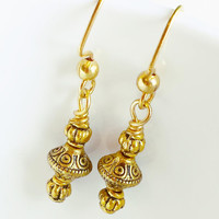 Solid Gold Beaded Earrings - Gold Beaded Earrings - Gold Jewelry - Gold Dangle Earrings - Gold Beaded Earrings - SALE
