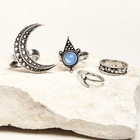 Silver Crescent Moon and Stars Ring Set