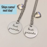 Best Friend Necklace Set, Best Friend Necklace, Best Friend Gift, Custom Engraved Necklace, Christmas Gift, Stocking Stuffer, Long Distance