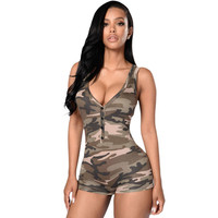 Camouflage    Shorts Playsuit V-Neck Sleeveless Sexy Rompers  Jumpsuit Shorts Skinny  Jumpsuit SM6