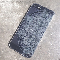 """Clear Plastic Case Cover for iPhone 6 (4.7"""") Black Henna Lotus Mandala tribal rose tribal ethnic american indian"""
