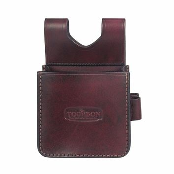 Tourbon Shotgun Shooting Shells Pouch Rifle Cartridges Leather Bag Case with Two 12/16/20GA Holders Hunting Gun Accessories