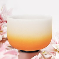 8 Inch D Sacral Chakra Gradient Orange Colored Frosted Crystal Singing Bowl
