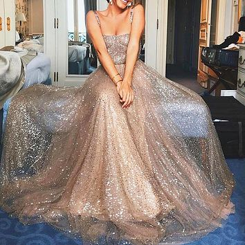 Sales of Women's Dresses Fashionable Sleeveless Sequins Suspended Dresses
