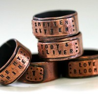 Wide Copper Band Ring Personalized by monkeysalwayslook on Etsy