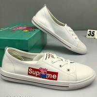 Supreme & Peppa Pig Joint Series 2018 Summer New Flat Sports Casual White Shoes F-CSXY