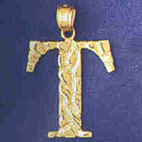 14K GOLD INITIAL CHARM - T #9575