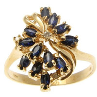 GENUINE MARQUISE CUT SAPPHIRE & DIAMOND COCKTAIL RING SOLID 14K YELLOW GOLD