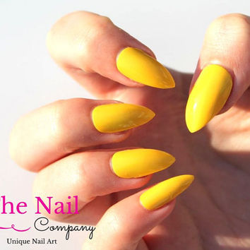 Yellow Fake Nails  - Set of Handpainted False Nails - Stiletto Nails, Oval Nails or Square Nails - Glossy Artificial Nails - Unique Nail Art