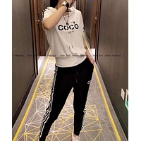 Woman Leisure Fashion Letter Personality Printing Stripe  Hedging Short Sleeve Motion Tops Trousers Two-Piece Set Casual Wear Sportswear