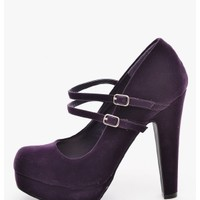 Purple Double Strap Platform Mary Jane Heels   $10.00   Cheap Trendy Heels and Pumps Chic Discount
