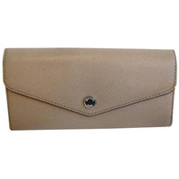 Michael Kors Saffiano Leather Taupe/Canary Greenwich Carryall Wallet