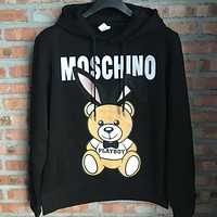 MOSCHINO 2018 autumn and winter models for men and women Teddy bear hooded pullover sweater F-Li-GBG Black
