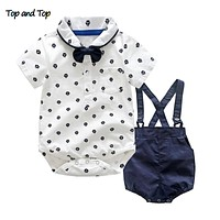 Top and Top Summer Toddler Boy Clothes Gentleman Boy Clothing Set Bow Tie Romper Top+Straps Shorts Boys Wedding Party Clothes