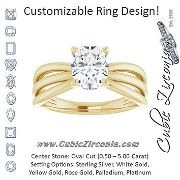 Cubic Zirconia Engagement Ring- The Maha (Customizable Oval Cut Solitaire Design with Wide, Ribboned Split-band)