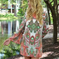 SZ LARGE Haddie Coral Paisley Shift Dress