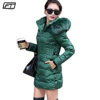 Fitaylor 2017 Warm Winter Women Jacket Long Paragraph Cotton Hooded Fur Parkas Mujer Solid Coat Pus Size Female Coats