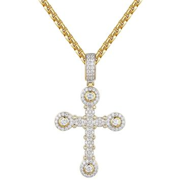 Solitaire Cluster Custom Silver Cross Pendant Necklace