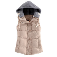 women's cotton wool collar hooded down vest  high quality Brand New female winter warm Jacket&Outerwear Autumn Winter Coat F778