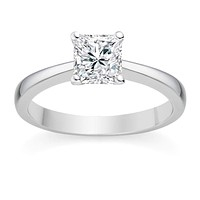 Princess Cut 0.50 Carat Solitaire Engagement Ring - 14K (Yellow, Rose or White Gold)