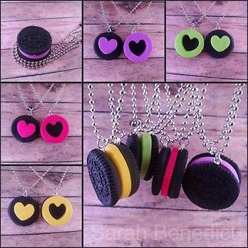 Oreo Cookie Puzzle Necklaces, NOW IN COLOR, Best Friend Necklaces