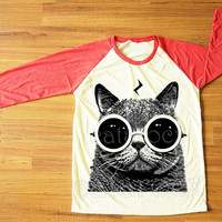 Cat Pott Head T-Shirt Cat Glasses Shirt Cat TShirt Raglan Tee Red Sleeve Shirt Women T-Shirt Men T-Shirt Unisex T-Shirt Baseball Tee S,M,L
