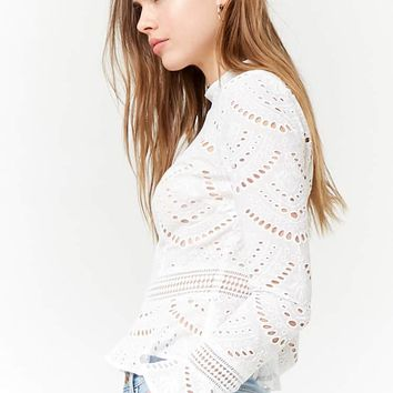 Sheer Embroidered Flounce Top