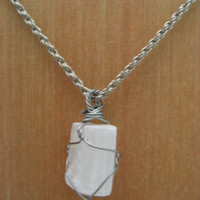 Wire Wrapped Selenite Necklace  Wire Wrapped Stone  NecklaceUnpolished Selenite Stone Necklace Selenite Jewelry Gift Ooak Necklace