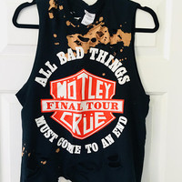 Mötley Crüe, distressed, bleached, T shirt, size Small, concert shirt, band shirt, bleached shirt, grunge clothing