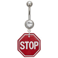 Stop Sign Dangle Belly Button Ring with Cubic Zirconia CZ - 316L Surgical Steel 14g Dangle Navel Ring