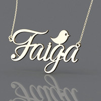 Most beautiful named monogram necklace--1.25 inch gold plated name necklace or plated in rose gold