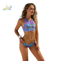 2016 women Bikini Swimsuit Bra Set Circle Sport Girls Swimwear Blue Sport Dress Bandage Floral Print bathign suit Brazil Trikini