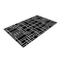 """Project M """"Map Outline Black"""" Simple Geometric Woven Area Rug"""