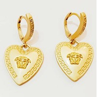 Versace Fashion New Human Head Love Heart Long Earring Golden