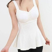 White Backless V-Neck Flounce Tank Top