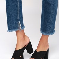 Teagen Black Suede Leather Platform Mules
