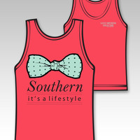 Sassy Frass Southern It's a Lifestyle Bow Girlie Bright Comfort Colors Tank Top