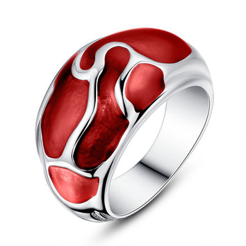 Stainless Steel Liquid Pattern Red Epoxy Ring