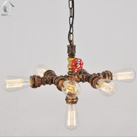 Rustic Copper Water Pipe Chandelier Max .280W With 7 Lights Painted Finish