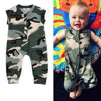 Kids Clothing Army Green Romper Sleeveless Fashion Playsuit Clothes Outfits