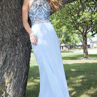 Two Piece Long Rachel Allan Halter Prom Dress