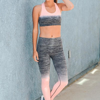Riley Ombré Yoga Leggings - Pink + Gray