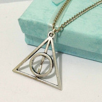 Harry Potter Necklace, Deathly Hallows Necklace - Antique Silver Necklace --Best Holiday Gift