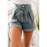 Perfect Addition Paper Bag Shorts (Washed Denim)