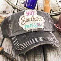 Women's Hot Southern Mess Patch Embroidery Distressed Baseball Hat