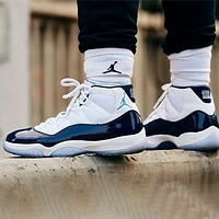Air Jordan 11 Women Men Stylish Sneakers Sport Basketball Shoes White&Blue